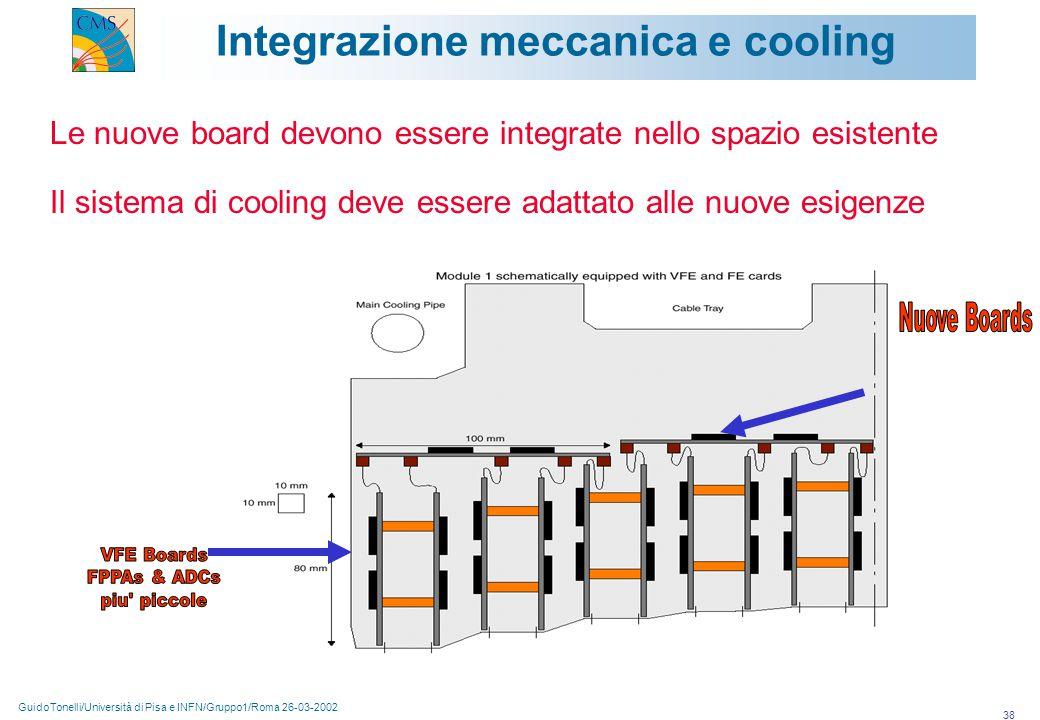 GuidoTonelli/Università di Pisa e INFN/Gruppo1/Roma 26-03-2002 38 Integrazione meccanica e cooling Le nuove board devono essere integrate nello spazio esistente Il sistema di cooling deve essere adattato alle nuove esigenze