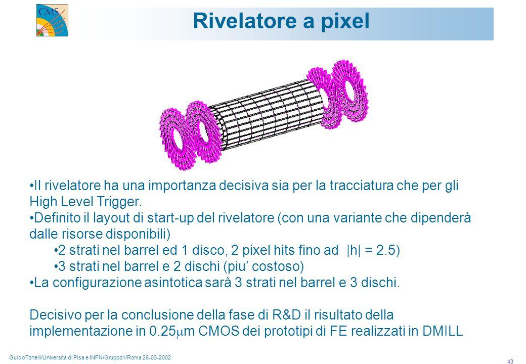 GuidoTonelli/Università di Pisa e INFN/Gruppo1/Roma 26-03-2002 43 Rivelatore a pixel Il rivelatore ha una importanza decisiva sia per la tracciatura che per gli High Level Trigger.
