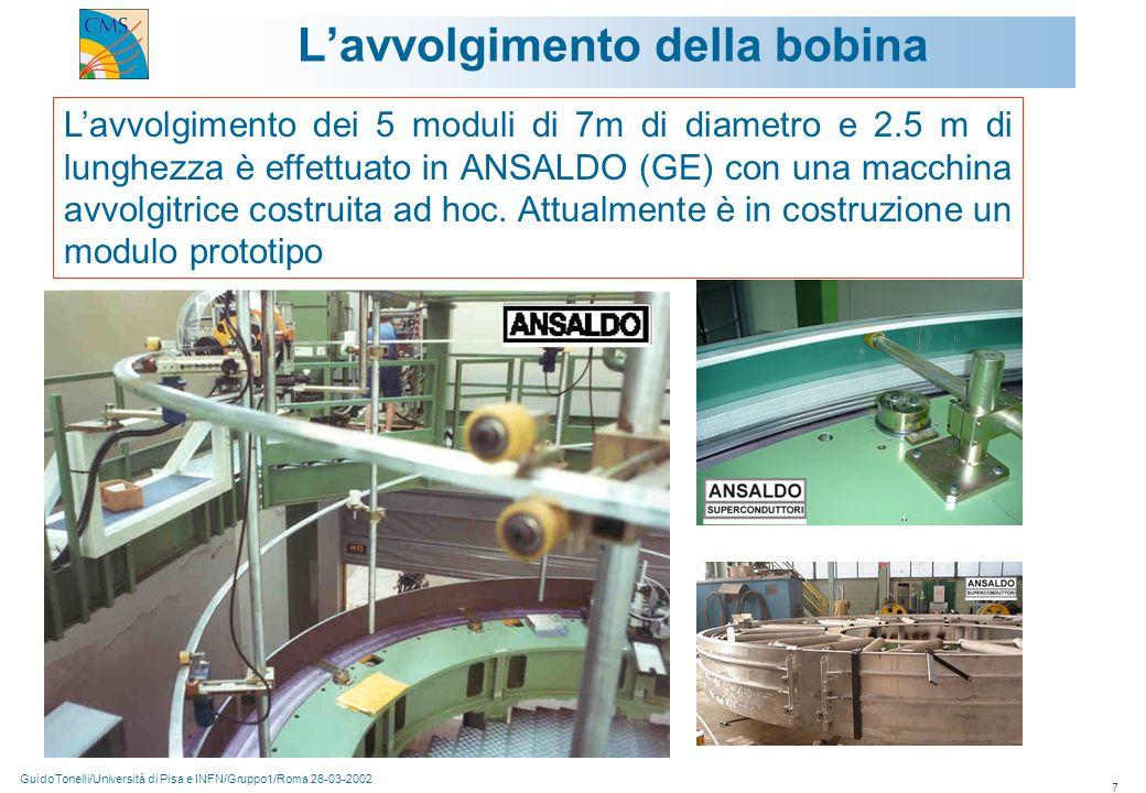GuidoTonelli/Università di Pisa e INFN/Gruppo1/Roma 26-03-2002 7 L'avvolgimento della bobina L'avvolgimento dei 5 moduli di 7m di diametro e 2.5 m di lunghezza è effettuato in ANSALDO (GE) con una macchina avvolgitrice costruita ad hoc.