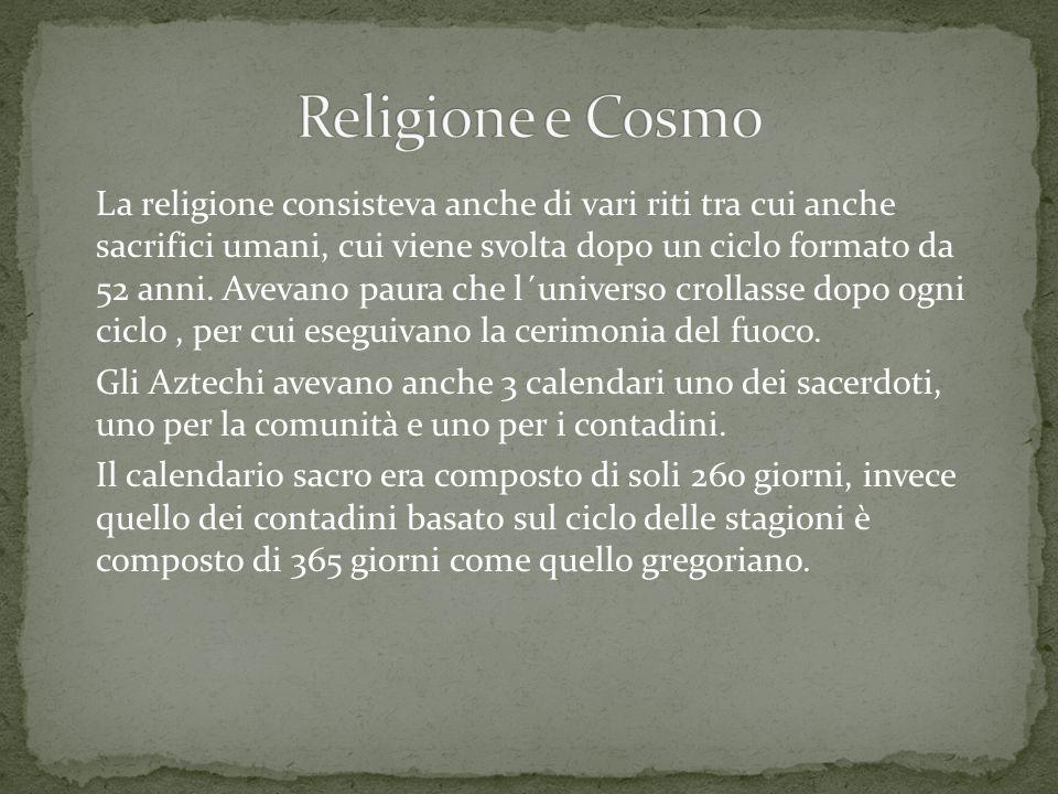 La religione consisteva anche di vari riti tra cui anche sacrifici umani, cui viene svolta dopo un ciclo formato da 52 anni.