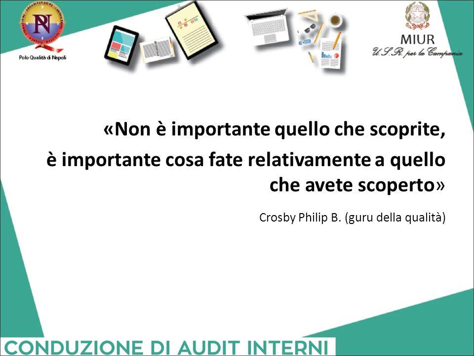 «Non è importante quello che scoprite, è importante cosa fate relativamente a quello che avete scoperto» Crosby Philip B. (guru della qualità)