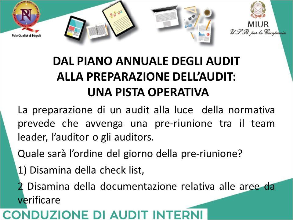 DAL PIANO ANNUALE DEGLI AUDIT ALLA PREPARAZIONE DELL'AUDIT: UNA PISTA OPERATIVA La preparazione di un audit alla luce della normativa prevede che avve