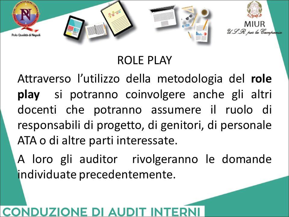 ROLE PLAY Attraverso l'utilizzo della metodologia del role play si potranno coinvolgere anche gli altri docenti che potranno assumere il ruolo di resp