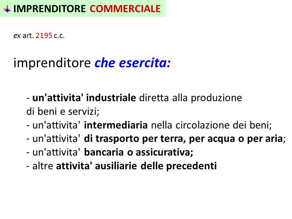 IMPRENDITORE COMMERCIALE ex art. 2195 c.c. - un'attivita' industriale diretta alla produzione di beni e servizi; - un'attivita' intermediaria nella ci