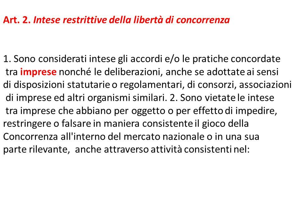 Art. 2. Intese restrittive della libertà di concorrenza 1. Sono considerati intese gli accordi e/o le pratiche concordate tra imprese nonché le delibe