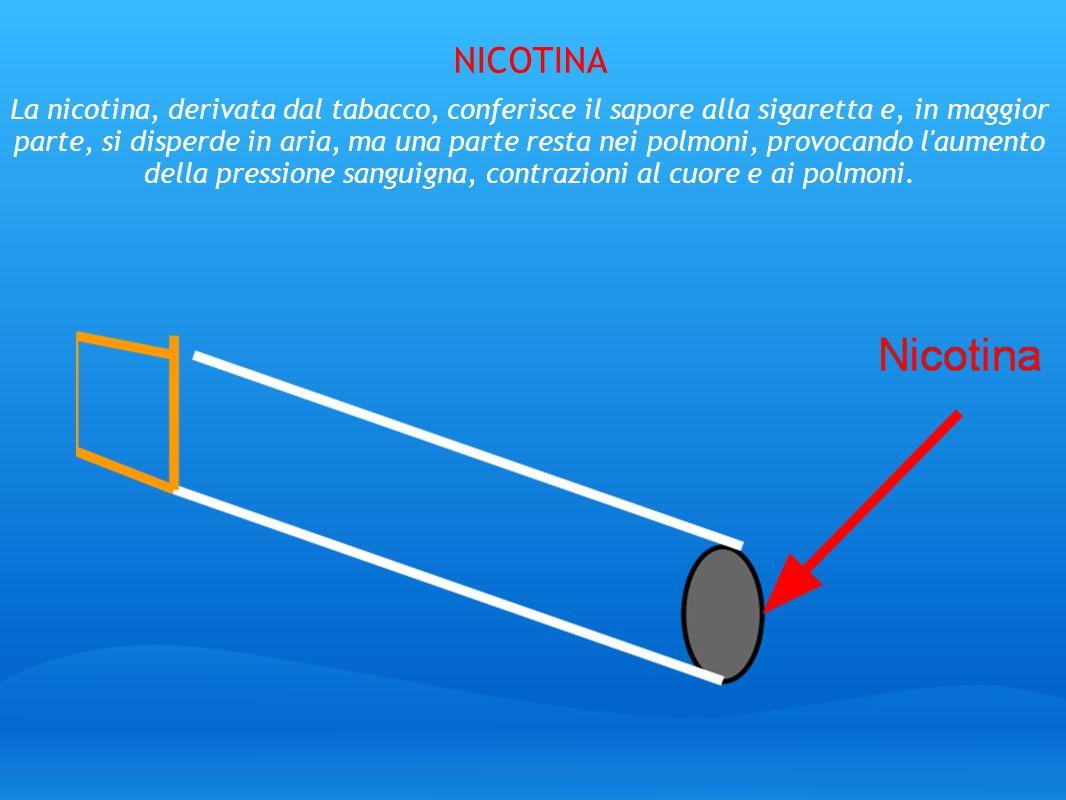 NICOTINA La nicotina, derivata dal tabacco, conferisce il sapore alla sigaretta e, in maggior parte, si disperde in aria, ma una parte resta nei polmo