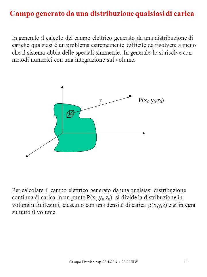 Campo Elettrico cap. 23.1-23.4 + 23.8 HRW11 In generale il calcolo del campo elettrico generato da una distribuzione di cariche qualsiasi è un problem