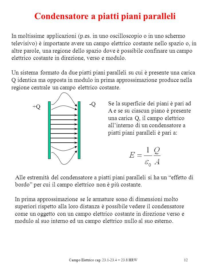 Campo Elettrico cap. 23.1-23.4 + 23.8 HRW12 Condensatore a piatti piani paralleli In moltissime applicazioni (p.es. in uno oscilloscopio o in uno sche