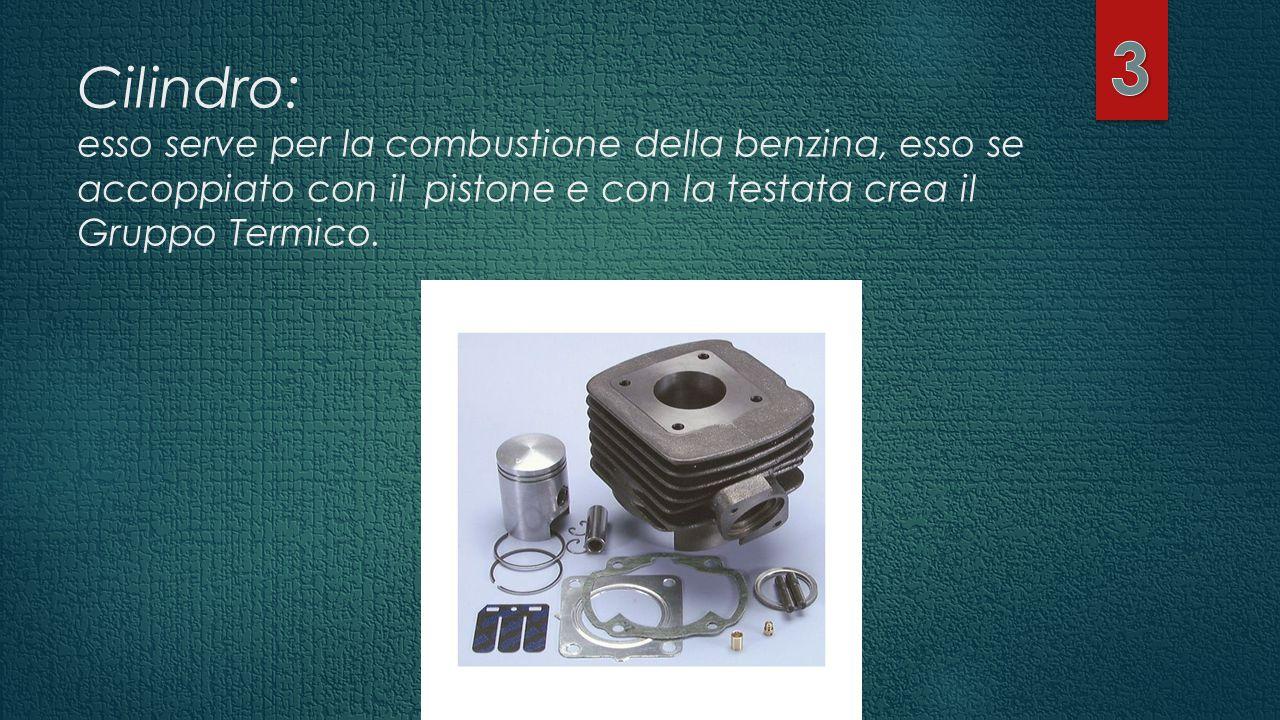 Cilindro: esso serve per la combustione della benzina, esso se accoppiato con il pistone e con la testata crea il Gruppo Termico.