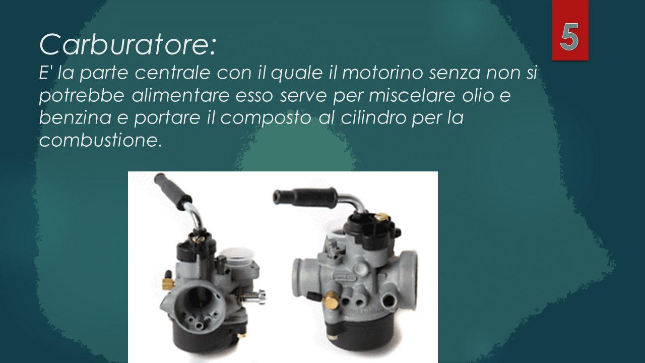 Carburatore: E' la parte centrale con il quale il motorino senza non si potrebbe alimentare esso serve per miscelare olio e benzina e portare il compo