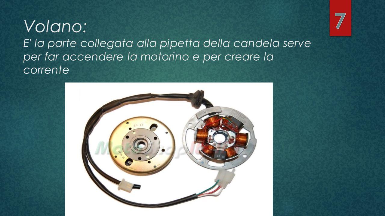 Volano: E' la parte collegata alla pipetta della candela serve per far accendere la motorino e per creare la corrente