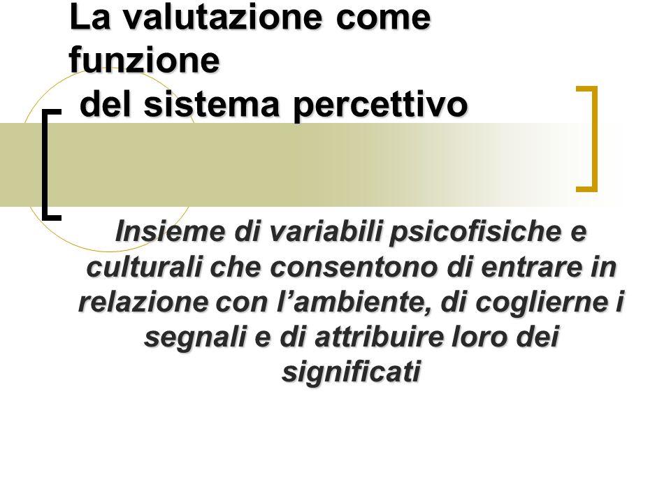 La valutazione come funzione del sistema percettivo Insieme di variabili psicofisiche e culturali che consentono di entrare in relazione con l'ambiente, di coglierne i segnali e di attribuire loro dei significati