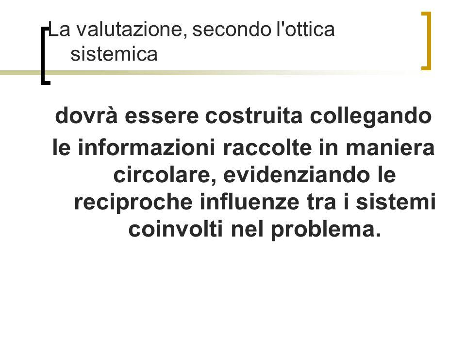 La valutazione, secondo l ottica sistemica dovrà essere costruita collegando le informazioni raccolte in maniera circolare, evidenziando le reciproche influenze tra i sistemi coinvolti nel problema.