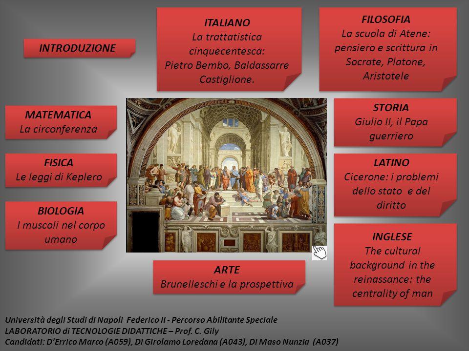 ITALIANO La trattatistica cinquecentesca: Pietro Bembo, Baldassarre Castiglione. LATINO Cicerone: i problemi dello stato e del diritto STORIA Giulio I