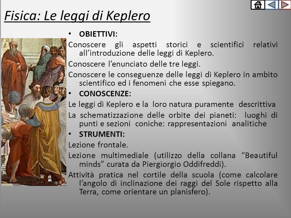 Fisica: Le leggi di Keplero OBIETTIVI: Conoscere gli aspetti storici e scientifici relativi all'introduzione delle leggi di Keplero. Conoscere l'enunc