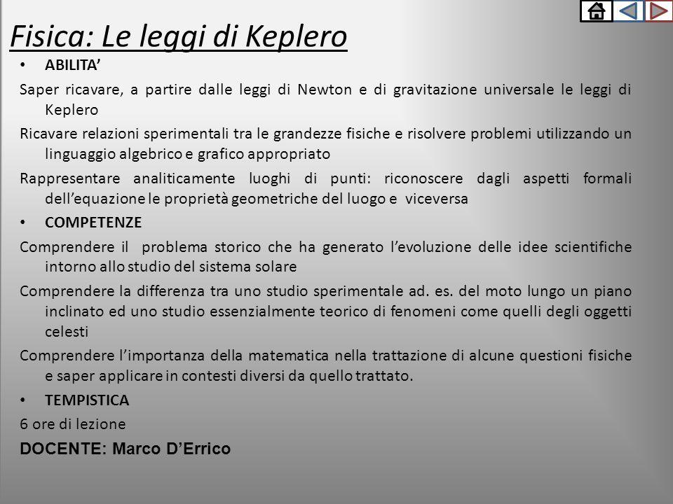 ABILITA' Saper ricavare, a partire dalle leggi di Newton e di gravitazione universale le leggi di Keplero Ricavare relazioni sperimentali tra le grand