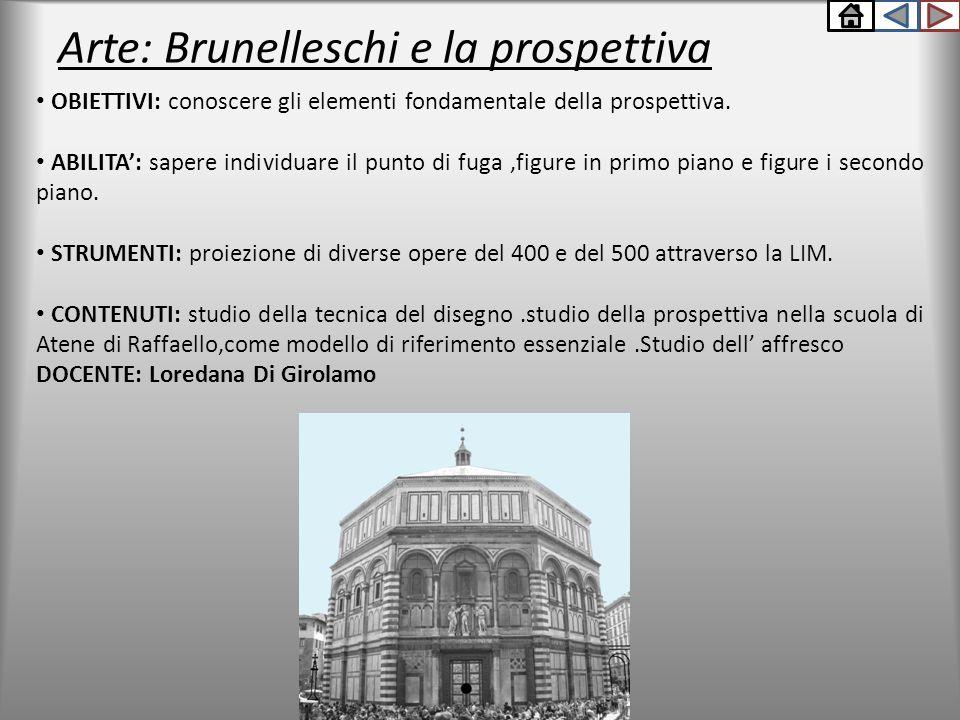 Arte: Brunelleschi e la prospettiva OBIETTIVI: conoscere gli elementi fondamentale della prospettiva. ABILITA': sapere individuare il punto di fuga,fi