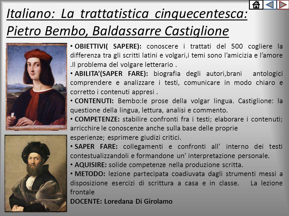 Italiano: La trattatistica cinquecentesca: Pietro Bembo, Baldassarre Castiglione OBIETTIVI( SAPERE): conoscere i trattati del 500 cogliere la differen