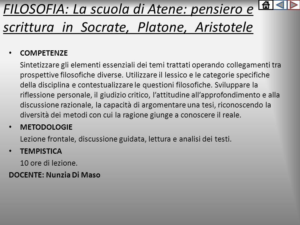 FILOSOFIA: La scuola di Atene: pensiero e scrittura in Socrate, Platone, Aristotele COMPETENZE Sintetizzare gli elementi essenziali dei temi trattati