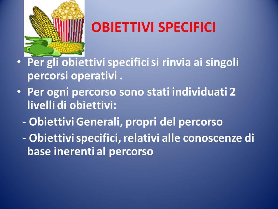 OBIETTIVI SPECIFICI Per gli obiettivi specifici si rinvia ai singoli percorsi operativi. Per ogni percorso sono stati individuati 2 livelli di obietti