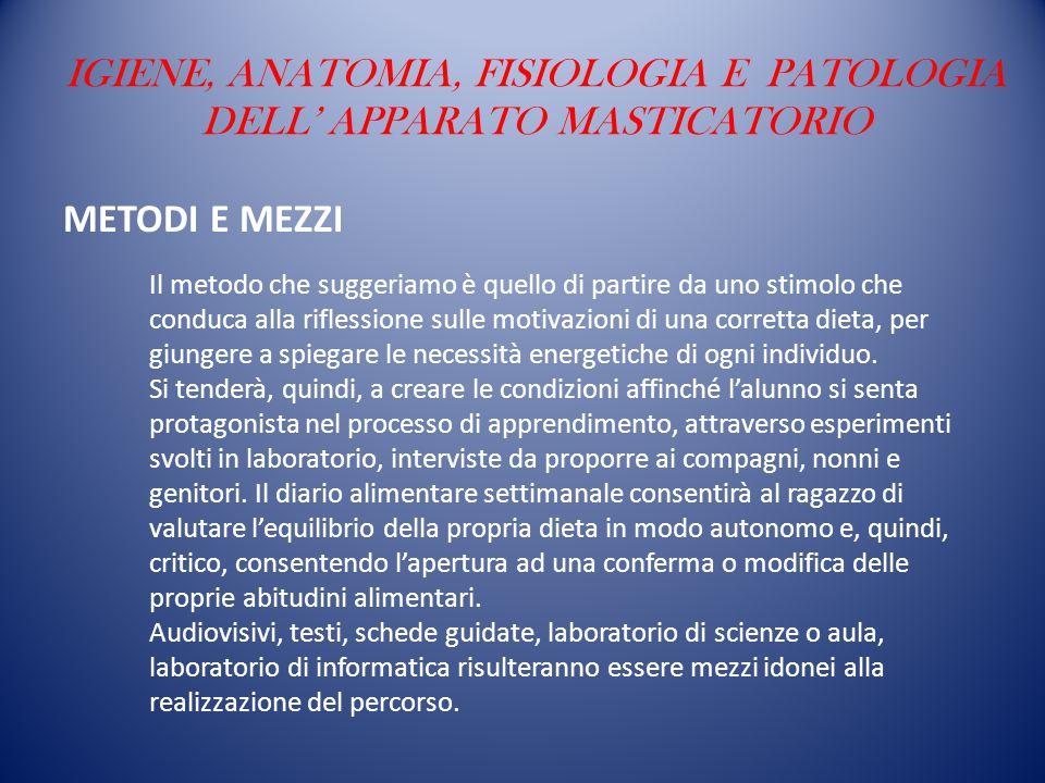 IGIENE, ANATOMIA, FISIOLOGIA E PATOLOGIA DELL' APPARATO MASTICATORIO METODI E MEZZI Il metodo che suggeriamo è quello di partire da uno stimolo che co