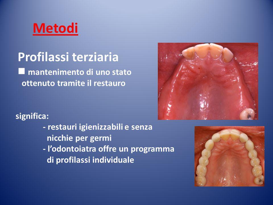 Profilassi terziaria mantenimento di uno stato ottenuto tramite il restauro significa: - restauri igienizzabili e senza nicchie per germi - l'odontoia