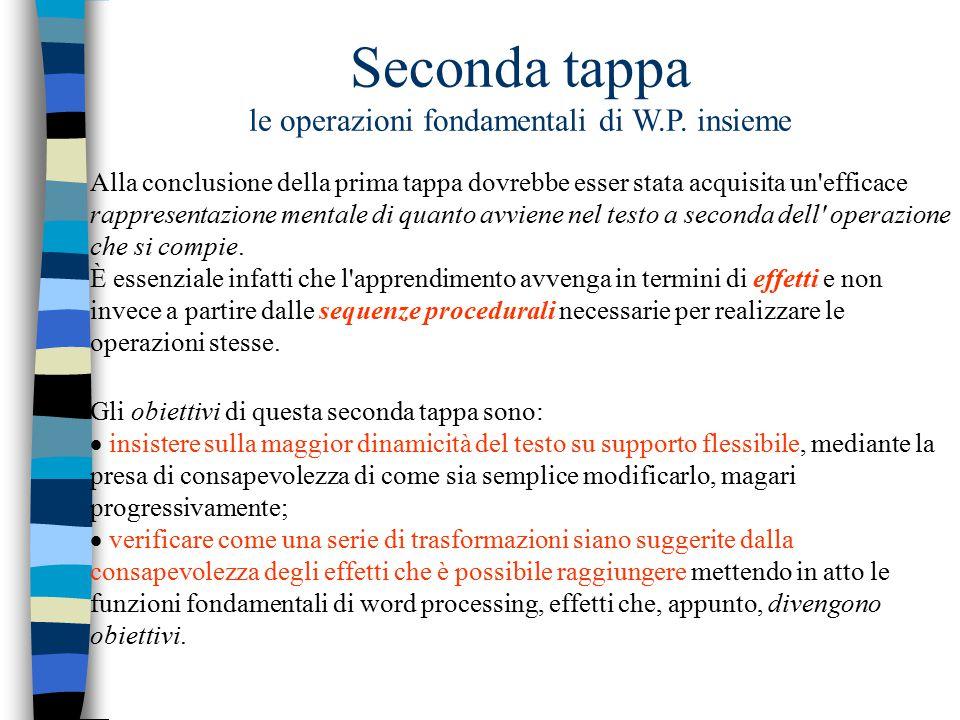 Seconda tappa le operazioni fondamentali di W.P. insieme Alla conclusione della prima tappa dovrebbe esser stata acquisita un'efficace rappresentazion