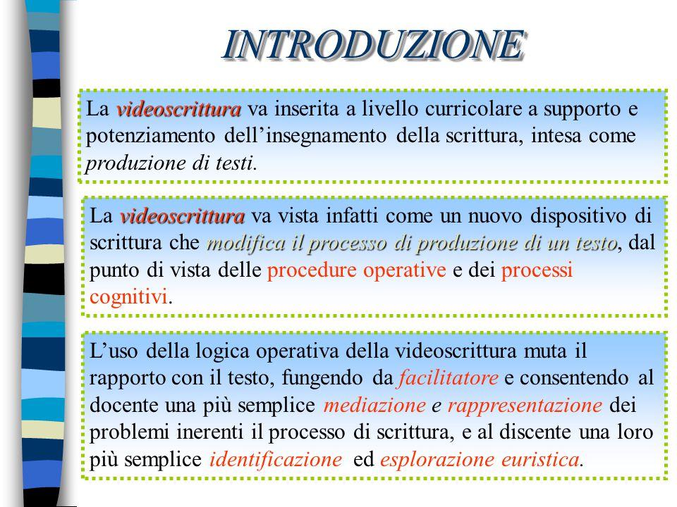 INTRODUZIONEINTRODUZIONE videoscrittura La videoscrittura va inserita a livello curricolare a supporto e potenziamento dell'insegnamento della scrittu