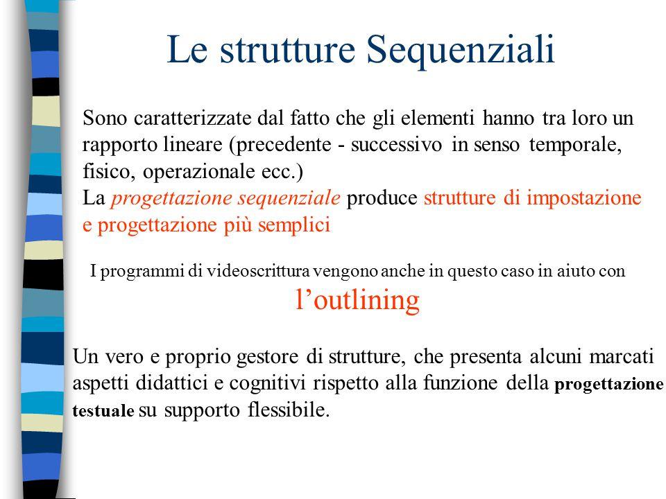 Le strutture Sequenziali Sono caratterizzate dal fatto che gli elementi hanno tra loro un rapporto lineare (precedente - successivo in senso temporale