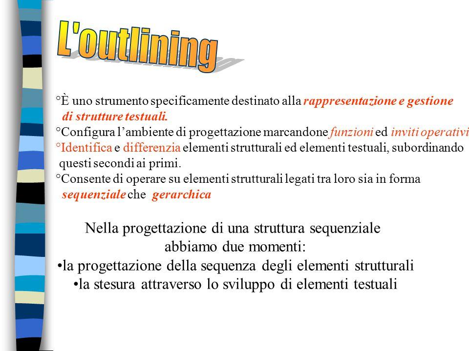 °È uno strumento specificamente destinato alla rappresentazione e gestione di strutture testuali. °Configura l'ambiente di progettazione marcandone fu