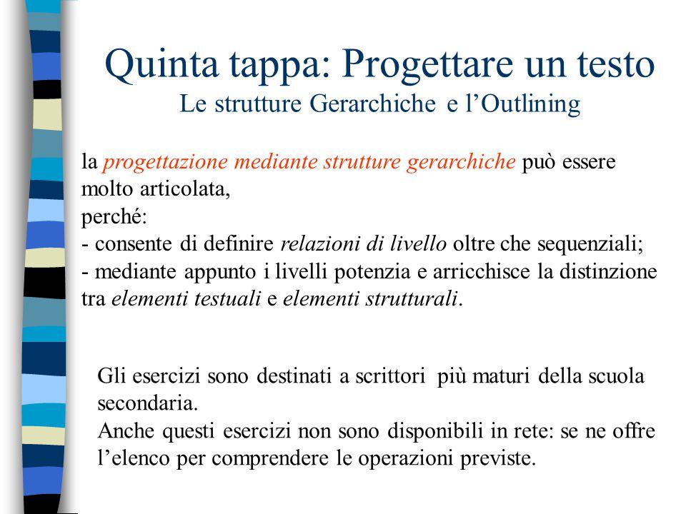 Quinta tappa: Progettare un testo Le strutture Gerarchiche e l'Outlining la progettazione mediante strutture gerarchiche può essere molto articolata,