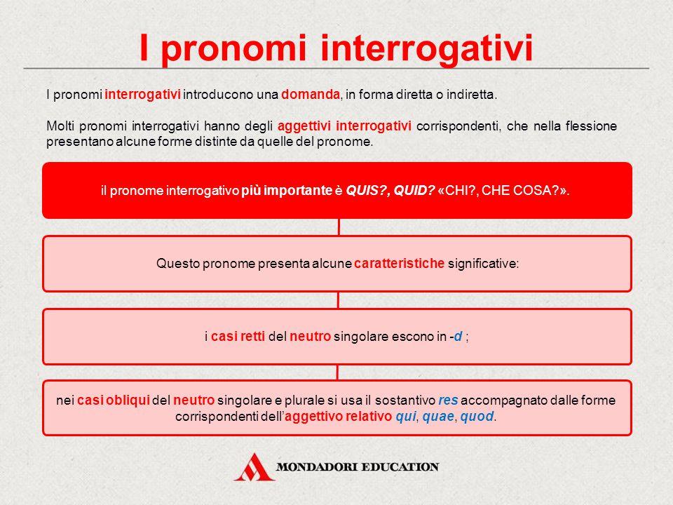 In italiano I pronomi interrogativi introducono una domanda, diretta o indiretta, riguardo l'identità, la qualità o la quantità. chi: invariabile, int