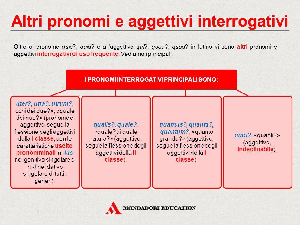Altri pronomi e aggettivi interrogativi Oltre al pronome quis?, quid.