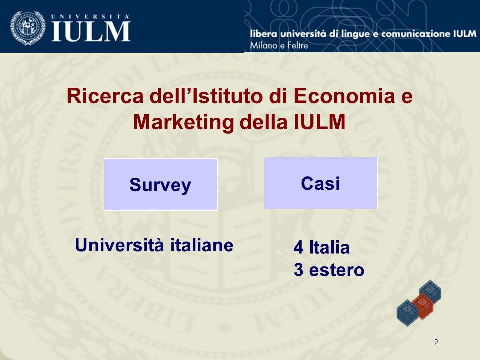 2 Ricerca dell'Istituto di Economia e Marketing della IULM Survey Università italiane Casi 4 Italia 3 estero