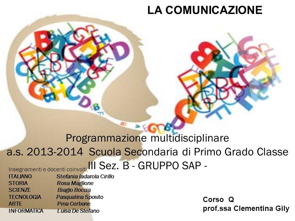 Programmazione multidisciplinare a.s.2013-2014 Scuola Secondaria di Primo Grado Classe III Sez.