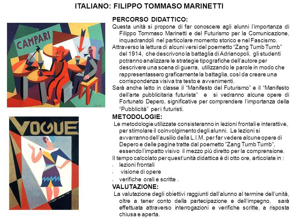 PERCORSO DIDATTICO: Questa unità si propone di far conoscere agli alunni l'importanza di Filippo Tommaso Marinetti e del Futurismo per la Comunicazione, inquadrandoli nel particolare momento storico e nel Fascismo.