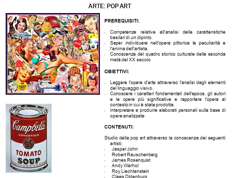 ARTE: POP ART PREREQUISITI: Competenze relative all analisi delle caratteristiche basilari di un dipinto.