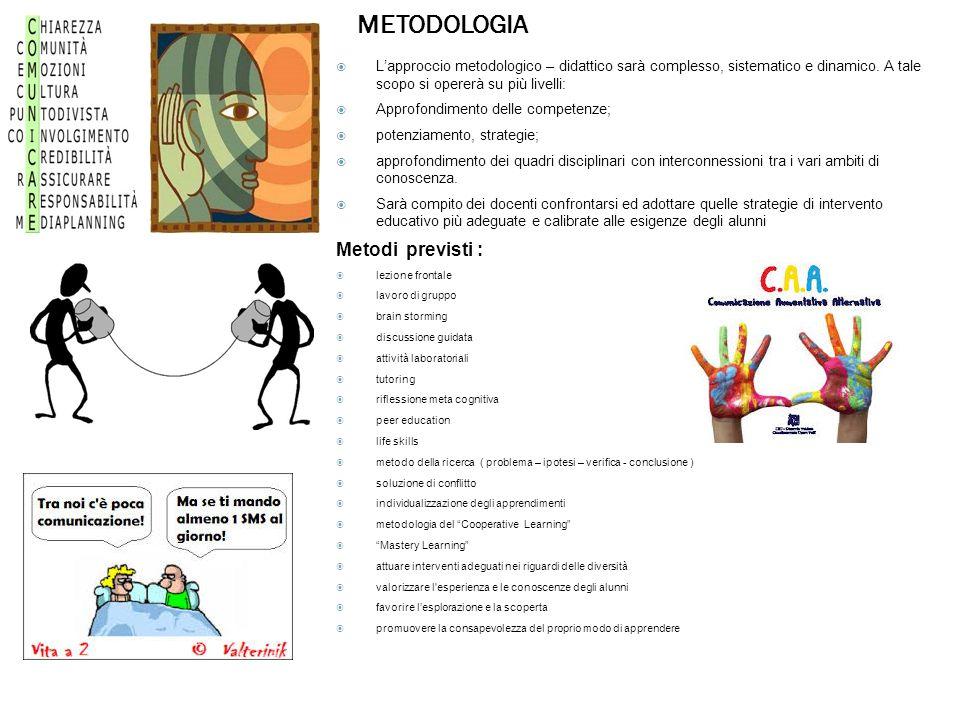 METODOLOGIA  L'approccio metodologico – didattico sarà complesso, sistematico e dinamico.
