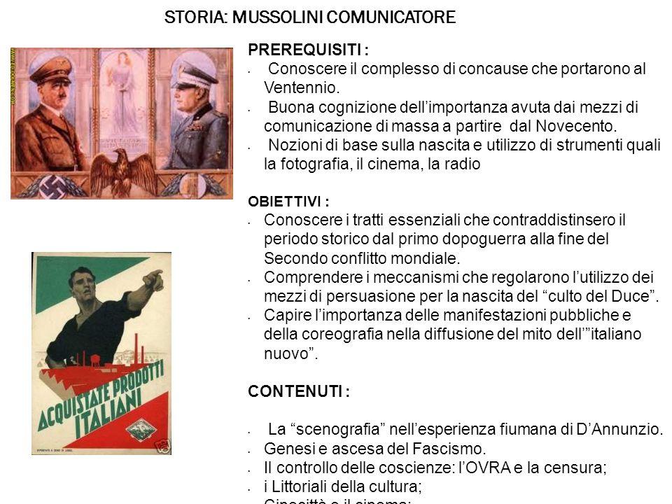 STORIA: MUSSOLINI COMUNICATORE PREREQUISITI : Conoscere il complesso di concause che portarono al Ventennio.