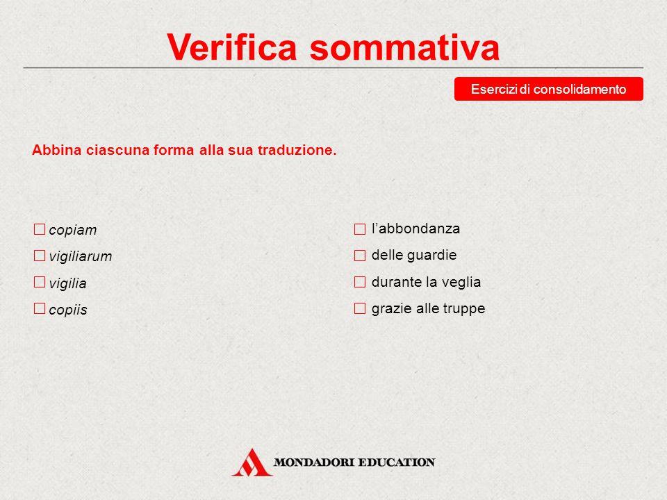 Verifica sommativa Esercizi di consolidamento Abbina ciascuna forma alla sua traduzione. Athenae Athenis Athnenas Athenarum Atene (sogg.) in Atene Ate