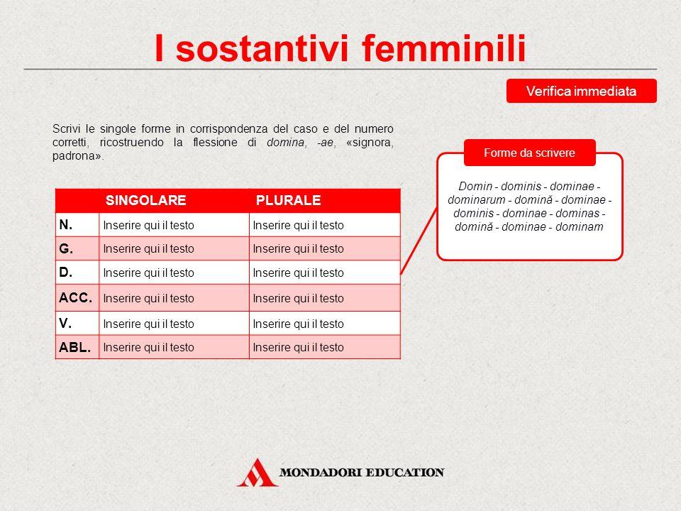 I sostantivi femminili Nella flessione, alcune forme presentano la stessa uscita: -a può corrispondere al nominativo, al vocativo o all'ablativo singo