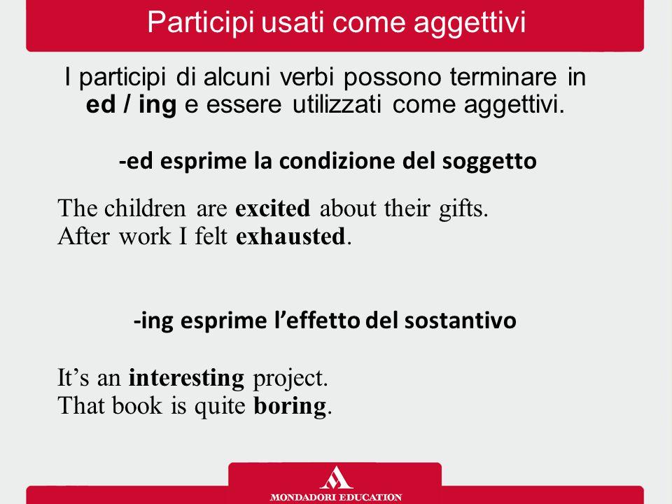 Participi usati come aggettivi I participi di alcuni verbi possono terminare in ed / ing e essere utilizzati come aggettivi. -ed esprime la condizione