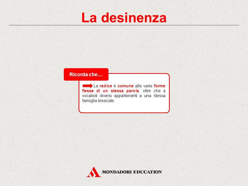 La desinenza La desinenza costituisce la parte finale della parola. Nella flessione dei sostantivi, degli aggettivi e dei pronomi è variabile in base