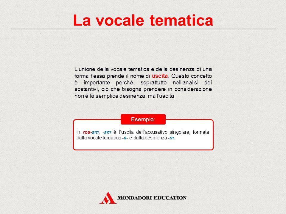 La vocale tematica Come si può notare dagli esempi precedenti, tra la desinenza e la radice dei sostantivi c'è un ulteriore elemento, noto come vocale tematica: essa esprime la declinazione di appartenenza dei sostantivi e la coniugazione a cui appartengono i verbi.