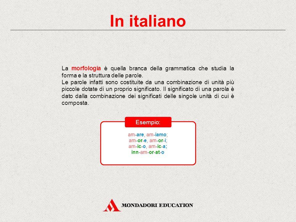 In italiano La morfologia è quella branca della grammatica che studia la forma e la struttura delle parole.