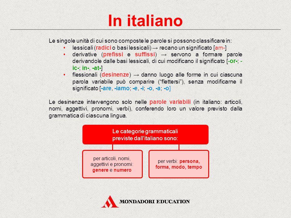 In italiano Le singole unità di cui sono composte le parole si possono classificare in: lessicali (radici o basi lessicali) → recano un significato [am-] derivative (prefissi e suffissi) → servono a formare parole derivandole dalle basi lessicali, di cui modificano il significato [-or-; - ic-; in-, -at-] flessionali (desinenze) → danno luogo alle forme in cui ciascuna parola variabile può comparire ( flettersi ), senza modificarne il significato [-are, -iamo; -e, -i; -o, -a; -o] Le desinenze intervengono solo nelle parole variabili (in italiano: articoli, nomi, aggettivi, pronomi, verbi), conferendo loro un valore previsto dalla grammatica di ciascuna lingua.