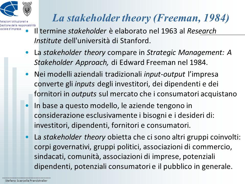 ____________________________ Stefano Scarcella Prandstraller Relazioni istituzionali e Gestione della responsabilità sociale d'impresa La stakeholder theory (Freeman, 1984) Il termine stakeholder è elaborato nel 1963 al Research Institute dell università di Stanford.