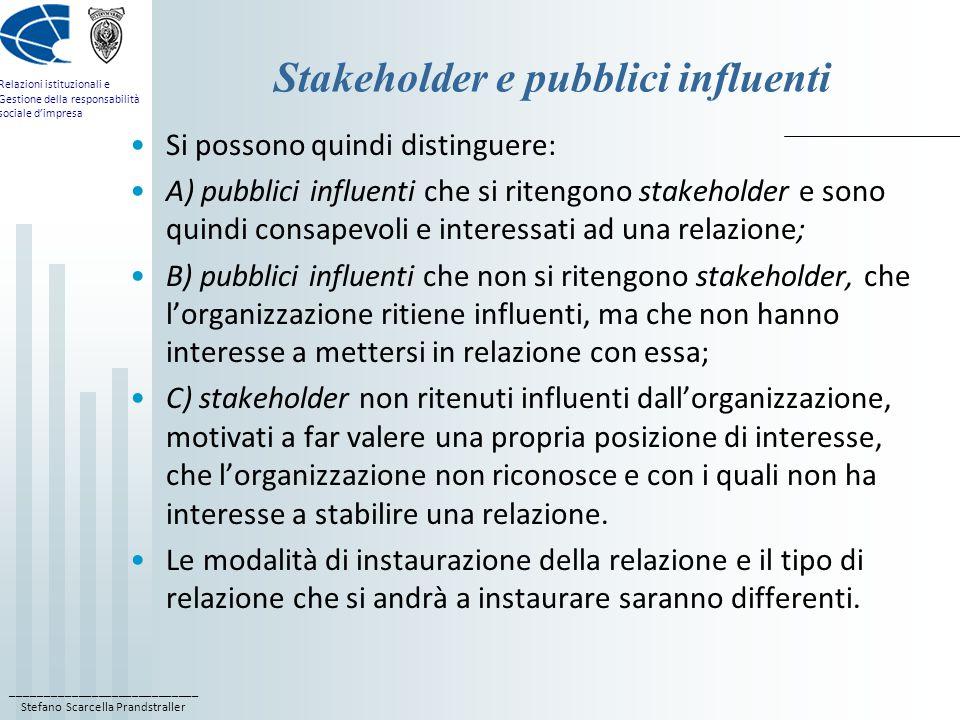 ____________________________ Stefano Scarcella Prandstraller Relazioni istituzionali e Gestione della responsabilità sociale d'impresa Stakeholder e pubblici influenti Si possono quindi distinguere: A) pubblici influenti che si ritengono stakeholder e sono quindi consapevoli e interessati ad una relazione; B) pubblici influenti che non si ritengono stakeholder, che l'organizzazione ritiene influenti, ma che non hanno interesse a mettersi in relazione con essa; C) stakeholder non ritenuti influenti dall'organizzazione, motivati a far valere una propria posizione di interesse, che l'organizzazione non riconosce e con i quali non ha interesse a stabilire una relazione.
