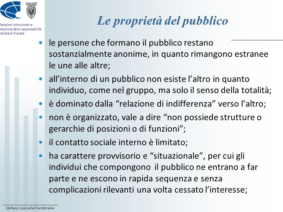 ____________________________ Stefano Scarcella Prandstraller Relazioni istituzionali e Gestione della responsabilità sociale d'impresa Le proprietà del pubblico le persone che formano il pubblico restano sostanzialmente anonime, in quanto rimangono estranee le une alle altre; all'interno di un pubblico non esiste l'altro in quanto individuo, come nel gruppo, ma solo il senso della totalità; è dominato dalla relazione di indifferenza verso l'altro; non è organizzato, vale a dire non possiede strutture o gerarchie di posizioni o di funzioni ; il contatto sociale interno è limitato; ha carattere provvisorio e situazionale , per cui gli individui che compongono il pubblico ne entrano a far parte e ne escono in rapida sequenza e senza complicazioni rilevanti una volta cessato l'interesse;