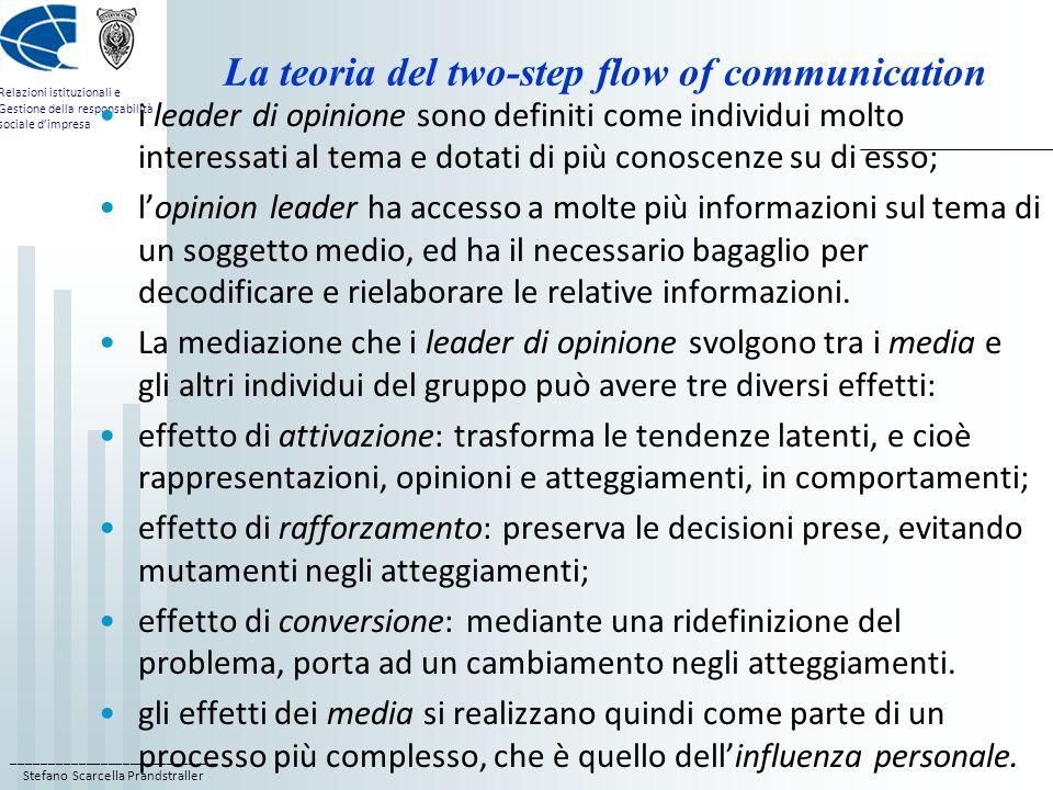 ____________________________ Stefano Scarcella Prandstraller Relazioni istituzionali e Gestione della responsabilità sociale d'impresa La teoria del two-step flow of communication i leader di opinione sono definiti come individui molto interessati al tema e dotati di più conoscenze su di esso; l'opinion leader ha accesso a molte più informazioni sul tema di un soggetto medio, ed ha il necessario bagaglio per decodificare e rielaborare le relative informazioni.